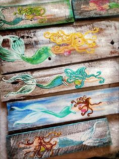 Rainbow hair mermaid painting on wood mermaid decor rainbow Mermaid Sign, Mermaid Wall Art, Mermaid Nursery, Tattoo Mermaid, Diy Projects Bathroom, Diy Wood Projects, Old Wood Crafts, Barn Wood Signs, Diy Wood Signs