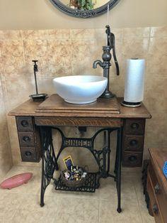 Ideas Antique Furniture Bathroom Vanity Old Sewing Machines sewing bathroom furniture. Repurposed Furniture, Home Decor Furniture, Bathroom Furniture, Antique Furniture, Furniture Ideas, Bathroom Interior, Wooden Furniture, Furniture Vanity, Furniture Logo