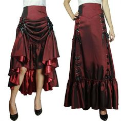 Was totally thinking of these for the bridesmaids but with a longer train in the back. Not too long. Each girl could wear a different color-burgundy, bronze, green, blue, and plum? Steampunk skirt ...click to buy