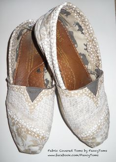 Custom Fabric Covered Toms Shoes - Cover your old Toms shoes with new material for a whole new look. $40.00, via Etsy.