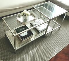 Ikea Vittsjo nesting table hack. Aged  silver leaf and shellac