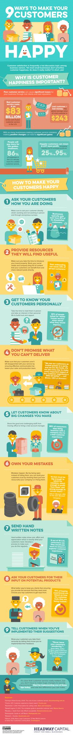 9 Ways to Make Your Customers Happy (Infographic)  - Happy customers are a core component of a healthy, profitable company.