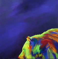 Sunlit Bear Colorful Animal Original Oil Painting by by grandhorse, $95.00