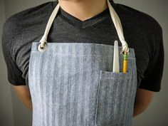 "Gingham cotton and denim aprons - easily converted to ""half aprons"". Designed for men, but work for women."
