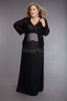 Glamorous Plus Size Column Gown with Lace for Mothers  $124.99