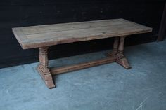 Very Nice Bleached Oak Monastery Style Dining Table - TABLE - FURNITURE…