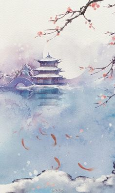 Temple and clouds Japanese Painting, Chinese Painting, Fantasy Kunst, Fantasy Art, Anime Kunst, Anime Art, Art Asiatique, Art Japonais, China Art