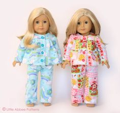 "American Girl Sewing Patterns Free | SEWING PATTERN 18"" Doll Pajamas PDF 72"