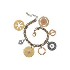 Multicolor Gold Copper Silver Charm Bracelet Steampunk Gears Clocks... ($17) ❤ liked on Polyvore featuring jewelry, bracelets, steampunk, copper jewelry, heart charm bracelet, gold jewelry, heart jewelry and silver jewelry