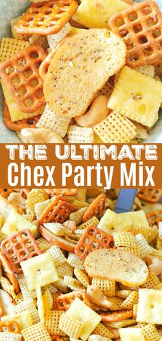 This Ultimate Chex Party Mix is perfect for snacking throughout the holiday season - the combination of ingredients really take this snack mix over the top. Dinner Party Appetizers, Best Appetizers, Dinner Menu, Appetizer Recipes, Snack Recipes, Healthy Recipes, Best Party Food, Party Food And Drinks, Ultimate Chex Mix Recipe