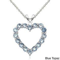 Glitzy Rocks Sterling Silver Birthstone Open Heart Necklace (December - Blue Topaz), Women's, Size: 18 Inch