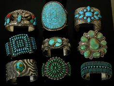 Solid Heavy Vintage Old Pawn Navajo Turquoise Sterling Bracelets