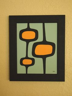 Mid Century Modern 8 X 10 Original Acrylic Painting by donnamibus, How George Jetson