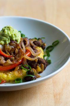 Black Bean Polenta Burrito Bowl by edibleperspective #Burrito #Black_Bean #Polenta