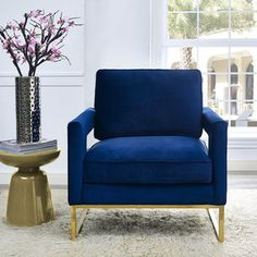 Emory Navy Velvet Chair | Overstock.com Shopping - The Best Deals on Living Room Chairs