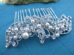 Pearl bridal hair comb,Swarovski Crystal Bridal Hair Comb, White/Ivory Pearl Bridal Hair Accessories, Wedding Hair Piece, Bridesmaid Jewelry...