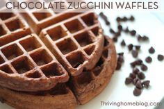 Double Chocolate Zucchini Waffles: Sure, there might be a speck of green here or there but your kids would probably never suspect that these chocolate-looking waffles are actually made with zucchini.