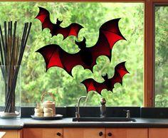 Halloween Window Clings, Indoor Lights, Hairbow Center, Homemade Halloween Decorations, Monet Water Lilies, White Wrapping Paper, Window Art, Halloween Bats, Painted Doors