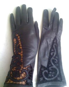 Cut and embroidered Italian Leather and Lace Gloves