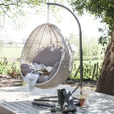 Brighton Hanging Rattan Pod Chair With Stand   ACHICA
