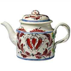 English Creamware Pottery Teapot with Heart Motif and Inscription, circa 1775 | From a unique collection of antique and modern tea sets at https://www.1stdibs.com/furniture/dining-entertaining/tea-sets/