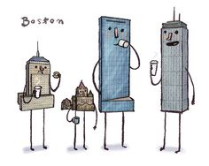 Boston skyline art print by smalltower on Etsy