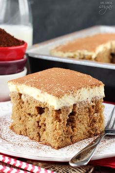Tiramisu Poke Cake - tastes just like tiramisu, but easier to make! SO good!