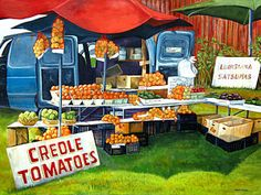 Food And Beverage Painting - Roadside Market by Elaine Hodges