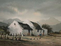 Douglas Treasure Watercolor Sky, Watercolor Artists, Watercolor Landscape, Abstract Landscape, Landscape Paintings, Watercolor Paintings, South African Artists, Cottage Art, Fruit Painting