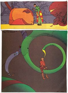 """Moebius 1991 - Marie Dakar p.2 From french comics magazine """"A SUIVRE"""" Silence, on rêve (Silence, We Are Dreaming"""") Special issue designed by Moebius, Editions Casterman, Paris July 1991"""