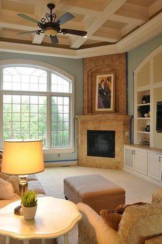 Family Room Painted with a Side of Painter's Remorse Paladian Blue, Masonry Work, Living Room Furniture Layout, Room Paint, The Help, Sweet Home, New Homes, Paint Colors, Room Colors
