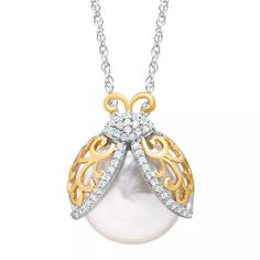 Pearl & 1/8 ct Diamond Ladybug Pendant in Silver and Gold