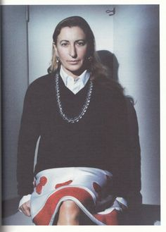 Born as Maria Bianchi, Miuccia Prada came into the world on May 1950 in Milan, Italy. Her grandfather, Prada, started a family business called Fratelli Prada in Fratelli Prada. Divas, Italian Fashion Designers, Miuccia Prada, Thing 1, Purple Fashion, Style Icons, Beautiful People, Fans, Glamour
