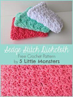 Free pattern for a crochet dishcloth made using sedge stitch. Creates a pretty textured dishcloth or washcloth.