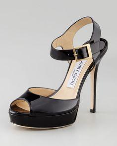 Linda Black Patent Ankle Strap Sandal - Jimmy Choo (High Life Casual Black Patent leather Buckles Sandal Platform High Stiletto Peep)