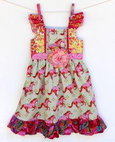 wild Horses Girls Dress, toddler dress, girls dress, birthday dress, boutique dress by LemonDoozyLane on Etsy