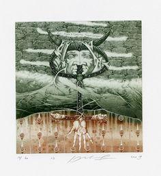 Surrealistic Ex libris Etching, Jurij Jakovenko, Belarus