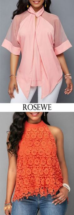 $31.86, free shipping worldwide, Pink Asymmetric Hem Mesh Patchwork Blouse. #Rosewe#top#summeroutfit