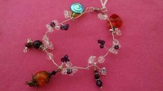 Silver plated thin wire glass beads bracelet #Handmade #Chain