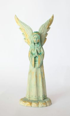 Angel of LOVE  Carved wood angel Folk art by FamilyTreasuries