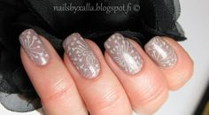 Isadora Macchiato, China Glaze Fairy Dust, stamping plate Pueen 75
