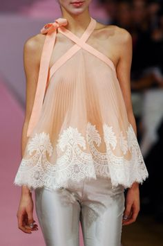 Alexis Mabille Peach Lace Blouse which was part of her Spring 2013 collection.