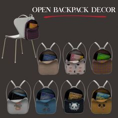 Leo Sims – Open backpack decor for The Sims 4