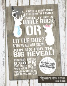 Lacy-Hunting+Theme++Deer+Gender+Reveal+Invitation+by+Meghilys+on+Etsy,+$10.00