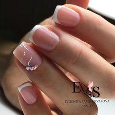 french nails wedding Tips Gem Nails, Nail Manicure, Nail Polish, Manicure Ideas, Nagel Hacks, French Tip Nails, White French Nails, Nagel Gel, Creative Nails