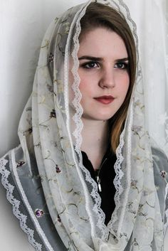 Evintage Veils~ Sweet Flowers and Vines Embroidered Lace Chapel Veil Mantilla Infinity Veil Latin Mass Chapel Veil, Chapel Wedding, Wedding Veils, Beautiful Muslim Women, Beautiful Hijab, Catholic Veil, Catholic Gifts, Hijab Fashion, Girl Fashion