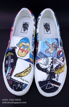 "These cost a bundle, but for a sweet pair of custom painted Vans. Amazingly, they are durable and the paint won't smear: from Art Kicks called ""Album of the Year""."