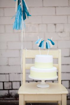 How Adorable is this Blue Tassel Garland Cake Topper?!