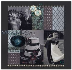 Mr. & Mrs. - grey, black, white patterned paper, grid pattern - wedding cake - wedding scrapbook layout page