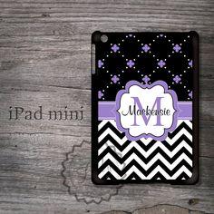 Custom iPad mini case  Black chevron and Lavender by MonogramCase